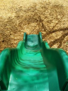 Playground slide green child safety