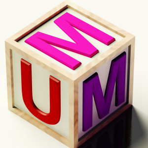 Kids Wooden Block Spelling Mum As Symbol for Motherhood And Parenting