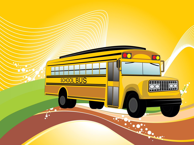Cartoon School Bus And Car Crash