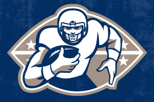 Poster art illustration of an american football gridiron runningback player running with ball facing front done in retro style with words National League Championship.
