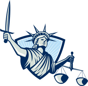 Illustration of lady statue of libery facing front holding weighing scales of justice and sword set inside crest shield on isolated white background.